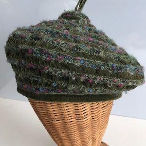 "Eric Javits velvet and wool beret size 22"""